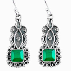 4.43cts natural green chalcedony 925 sterling silver dangle earrings d32466