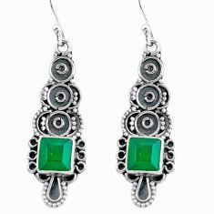 4.80cts natural green chalcedony 925 sterling silver dangle earrings d32470