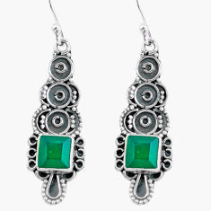 4.75cts natural green chalcedony 925 sterling silver dangle earrings d32487