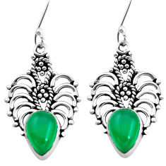 5.63cts natural green chalcedony 925 sterling silver dangle earrings p41303