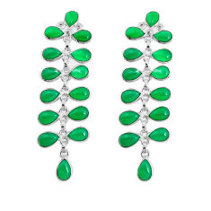 17.96cts natural green chalcedony 925 sterling silver dangle earrings p43815