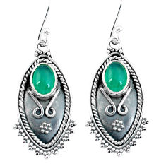 3.73cts natural green chalcedony 925 sterling silver dangle earrings p60054