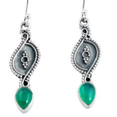2.98cts natural green chalcedony 925 sterling silver dangle earrings p60190