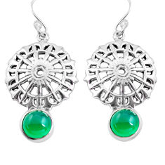 5.08cts natural green chalcedony 925 sterling silver dangle earrings p84911