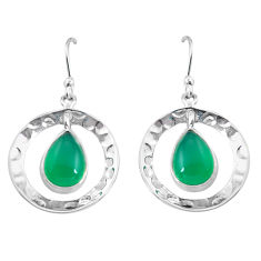 6.58cts natural green chalcedony 925 sterling silver dangle earrings p85602