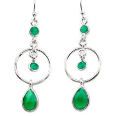 6.22cts natural green chalcedony 925 sterling silver dangle earrings p88405
