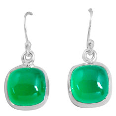 9.83cts natural green chalcedony 925 sterling silver dangle earrings p89303