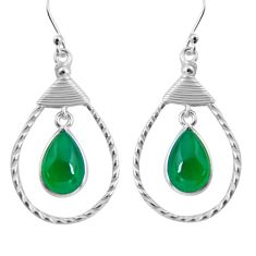 8.80cts natural green chalcedony 925 sterling silver dangle earrings p89968