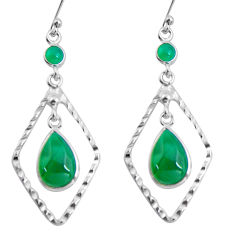 9.61cts natural green chalcedony 925 sterling silver dangle earrings p89982