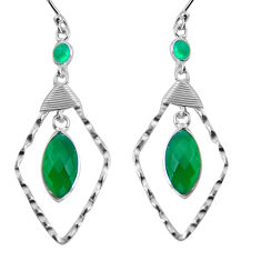 12.22cts natural green chalcedony 925 sterling silver dangle earrings p90006