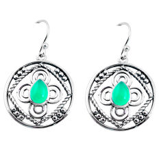 3.58cts natural green chalcedony 925 sterling silver dangle earrings p91466