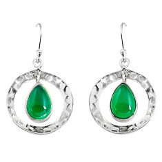 4.73cts natural green chalcedony 925 sterling silver dangle earrings p91503