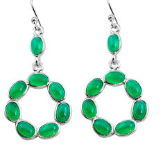 14.30cts natural green chalcedony 925 sterling silver dangle earrings p91560