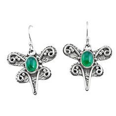 3.16cts natural green chalcedony 925 sterling silver dragonfly earrings p57569