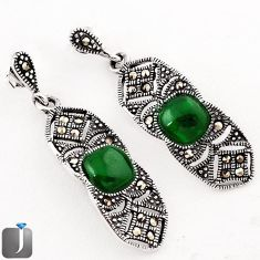 6.38cts NATURAL GREEN CHALCEDONY 925 STERLING SILVER EARRINGS JEWELRY F37880