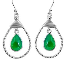 9.11cts natural green chalcedony 925 sterling silver earrings jewelry p92769