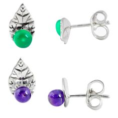 3.50cts natural green chalcedony amethyst 925 silver stud earrings p48761