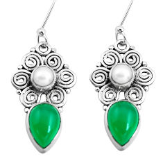 8.94cts natural green chalcedony pearl 925 silver dangle earrings p41285