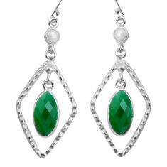 11.20cts natural green chalcedony pearl 925 silver dangle earrings p89993
