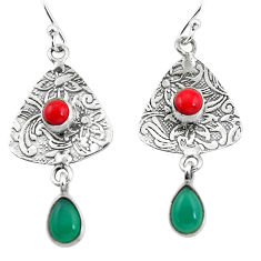 4.43cts natural green chalcedony red coral 925 silver dangle earrings p57622