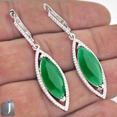 18.43CT NATURAL GREEN CHALCEDONY TOPAZ 925 SILVER DANGLE EARRINGS JEWELRY F43804