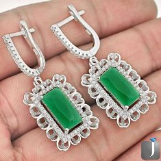 12.03cts NATURAL GREEN CHALCEDONY WHITE TOPAZ 925 SILVER DANGLE EARRINGS F73137