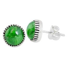 5.88cts natural green chrome diopside 925 sterling silver stud earrings p45287