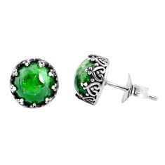 7.56cts natural green chrome diopside 925 sterling silver stud earrings p45849