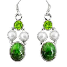 14.39cts natural green chrome diopside peridot 925 silver dangle earrings d32374