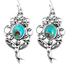 8.22cts natural green chrysocolla 925 silver angel wings fairy earrings p52012