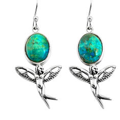 8.05cts natural green chrysocolla 925 silver angel wings fairy earrings p60851