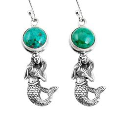 6.53cts natural green chrysocolla 925 silver fairy mermaid earrings p55465