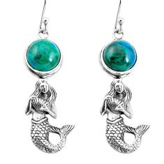 6.20cts natural green chrysocolla 925 silver fairy mermaid earrings p55466