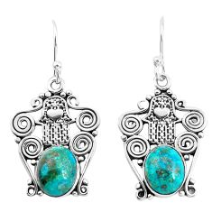 8.22cts natural green chrysocolla 925 silver hand of god hamsa earrings p52239