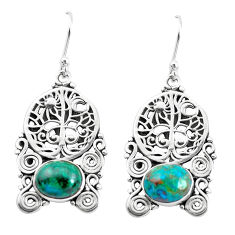 8.96cts natural green chrysocolla 925 silver tree of life earrings p52246