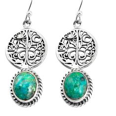8.52cts natural green chrysocolla 925 silver tree of life earrings p54842