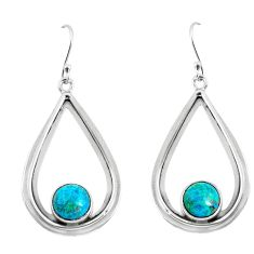 6.36cts natural green chrysocolla 925 sterling silver dangle earrings p52892