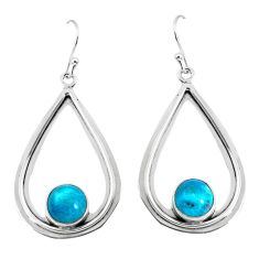 6.36cts natural green chrysocolla 925 sterling silver dangle earrings p52893