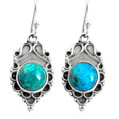 5.80cts natural green chrysocolla 925 sterling silver dangle earrings p52999