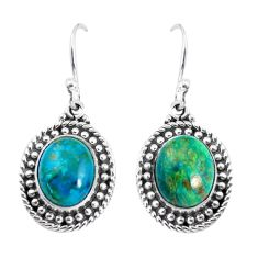 7.33cts natural green chrysocolla 925 sterling silver dangle earrings p58187