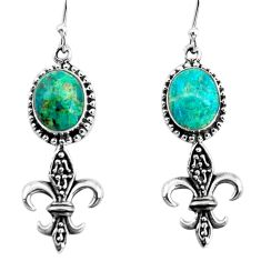 8.83cts natural green chrysocolla 925 sterling silver dangle earrings p60783