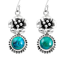 5.30cts natural green chrysocolla 925 sterling silver flower earrings p54924