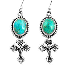 8.44cts natural green chrysocolla 925 sterling silver holy cross earrings p54994