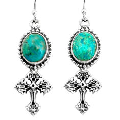 8.83cts natural green chrysocolla 925 sterling silver holy cross earrings p60789