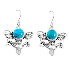 6.84cts natural green chrysocolla 925 sterling silver owl earrings p52069