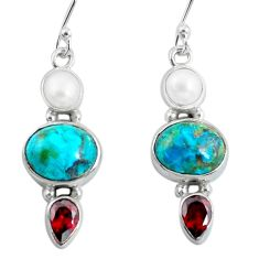 10.76cts natural green chrysocolla garnet pearl silver dangle earrings p57335