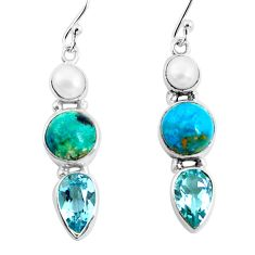 11.66cts natural green chrysocolla topaz pearl 925 silver dangle earrings p57339