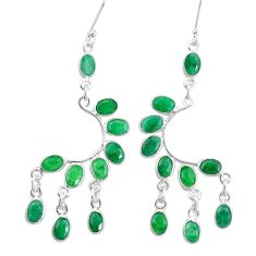 18.62cts natural green emerald 925 sterling silver dangle earrings p60516
