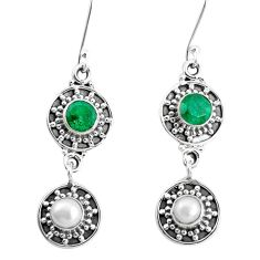 4.82cts natural green emerald pearl 925 sterling silver dangle earrings p51557