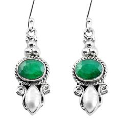 7.89cts natural green emerald pearl 925 sterling silver dangle earrings p58341